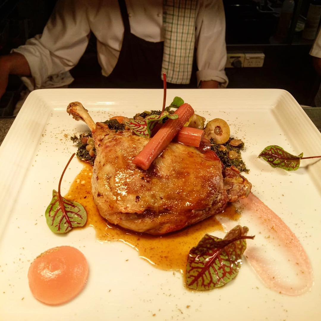 DUCK LEG CONFIT WITH RHUBARB AND SPRING RAGOUT #duck #french #recipe #springmenu #lunchdate #dinnerdate #foodie #frenchrestaurant